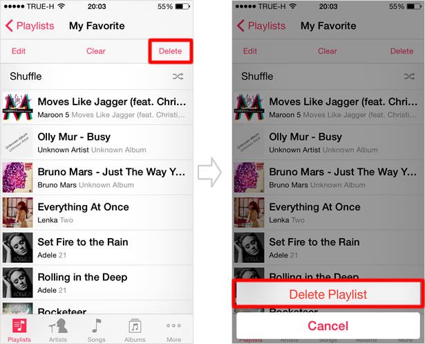 Delete a playlist
