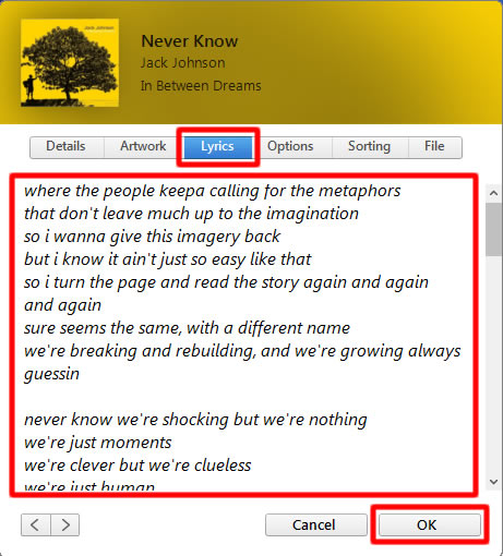 put the lyrics